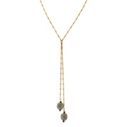 14K Gold Dipped Black Diamond Color Crystal Fireball Lariat Necklace 30 In