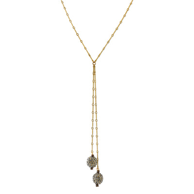 14K Gold-Dipped Black Diamond Color Crystal Fireball Lariat Necklace 30 In