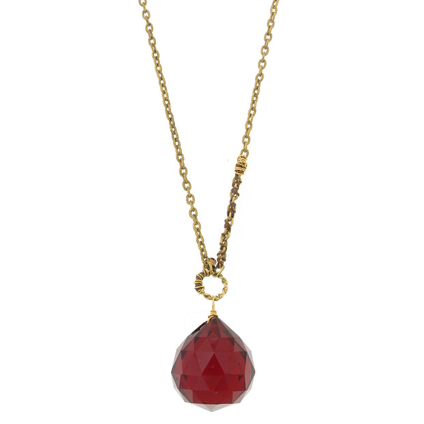 14K Gold  Dipped Vintage Hand Wrapped Chain With Red Briolette Necklace 34