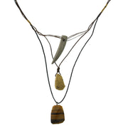 Waxed Linen Wire 3 Drop With Gemstone Tiger S Eye Y-Necklace 28 In