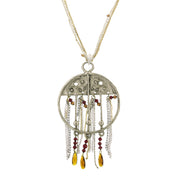Round Adorned Center Necklace With Tassel Chain And Swarovski Crystals 36