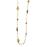 14K Gold Dipped Droplet Chain With Buddha And Gemstone Accents Necklace 44 In