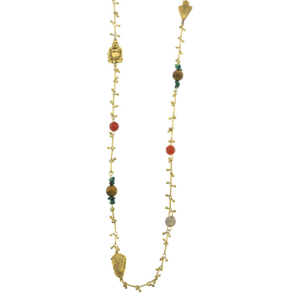 14K Gold-Dipped Droplet Chain With Buddha And Gemstone Accents Necklace 44 In