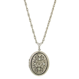 Fashion Jewelry - French Rococo Silver-Tone Pearl Locket Necklace