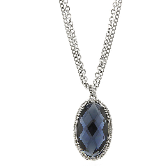 Silver-Tone with Dark Blue Crystal Oval Pendant Necklace 16 In Adj