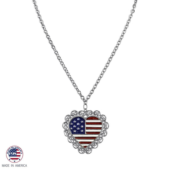 Scalloped Heart American Flag Pendant Necklace