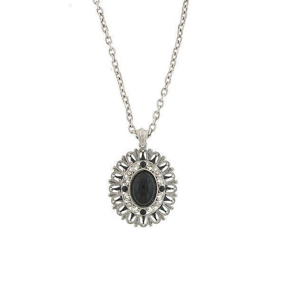 Silver-Tone Jet Oval Pendant Necklace 22