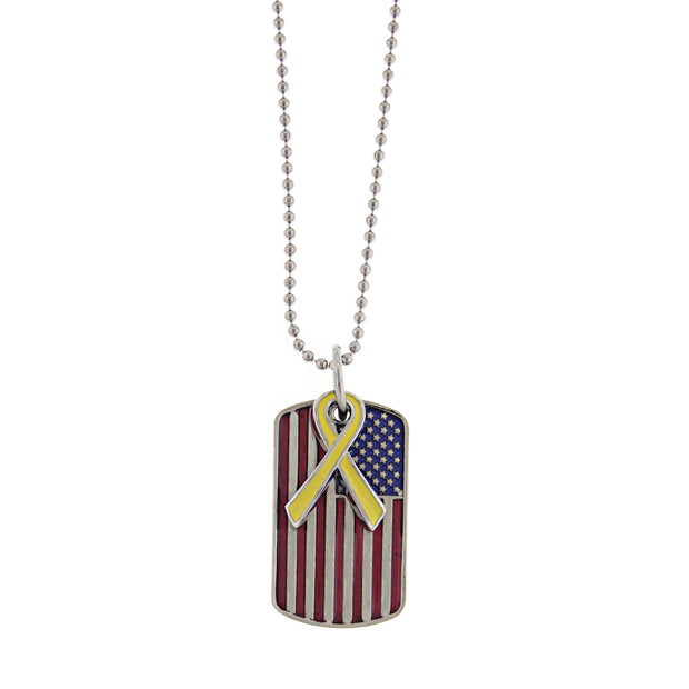 Silver Tone Enameled Flag Dog Tag W/ Yellow Ribbon Necklace 24 In