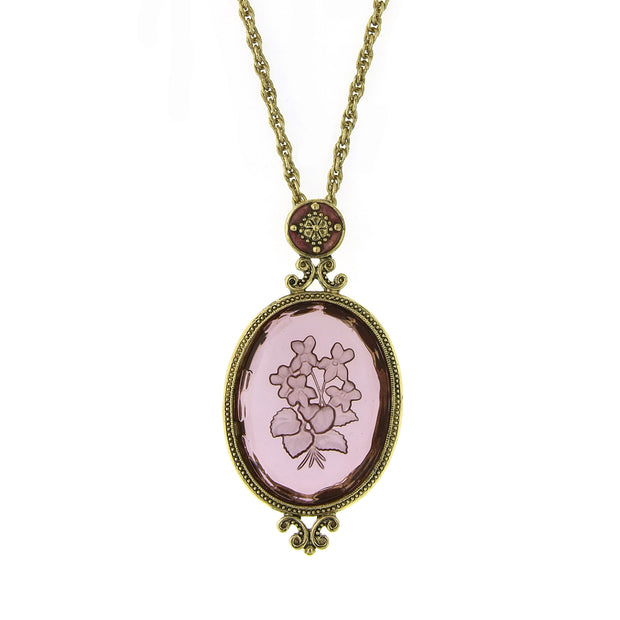 Gold-Tone Amethyst Purple Oval Intaglio Pendant Necklace 18 In