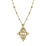 Matte Antiqued 14K Gold Dipped Chevron Long Necklace 36 In