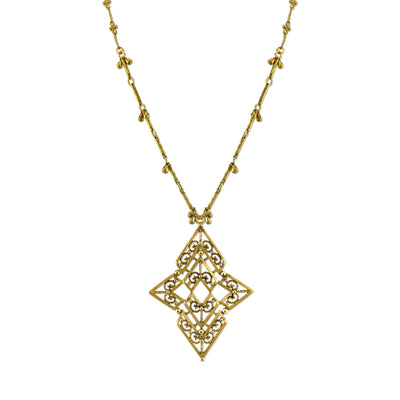 Matte Antiqued 14K Gold-Dipped Chevron Long Necklace 36 In