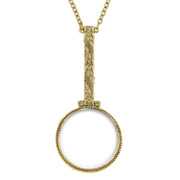 Gold Tone Magnifying Glass Necklace 28 In