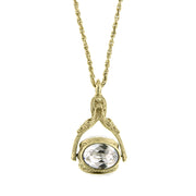 Gold Tone Crystal 3 Sided Spinner Necklace 30 In