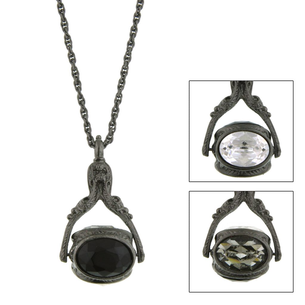 Jet-Tone Black Three-Sided Spinning Pendant Necklace