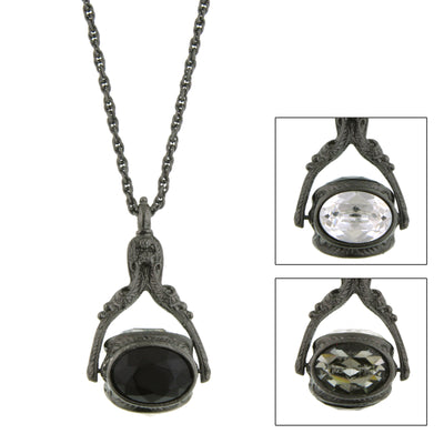 Black Tone Black Diamond Color and Black Crystal 3 Sided Spinner Necklace 30 In