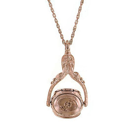 1928 Jewelry: 1928 Jewelry - Victorian Style Rose Gold-Tone Rotating Locket Necklace