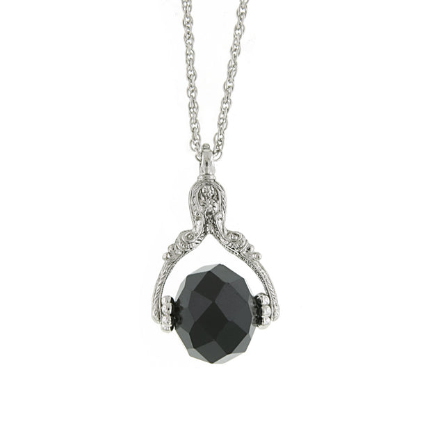 Black Silver Tone Crystal Spinner Necklace 30 Inches