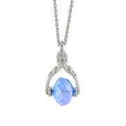 Silver-Tone AB Light Blue Crystal Spinner Necklace 30 In