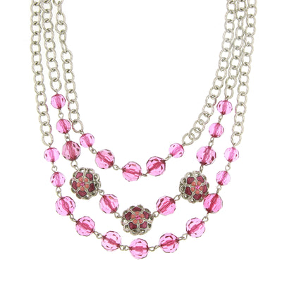 Silver-Tone Amethyst Fuschia Triple Row Beaded Strand Necklace