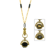 Gold Tone Black Cameo Spinner Necklace 24 In