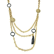 Gold-Tone Black Tassel Layered Necklace 30 In