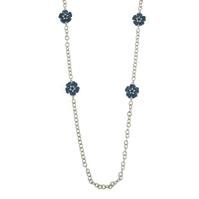 Silver Tone Blue Enamel Flower Necklace 40 In