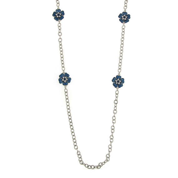 Fashion Jewelry - 2028 Blue Enamel Hibiscus Lei Necklace