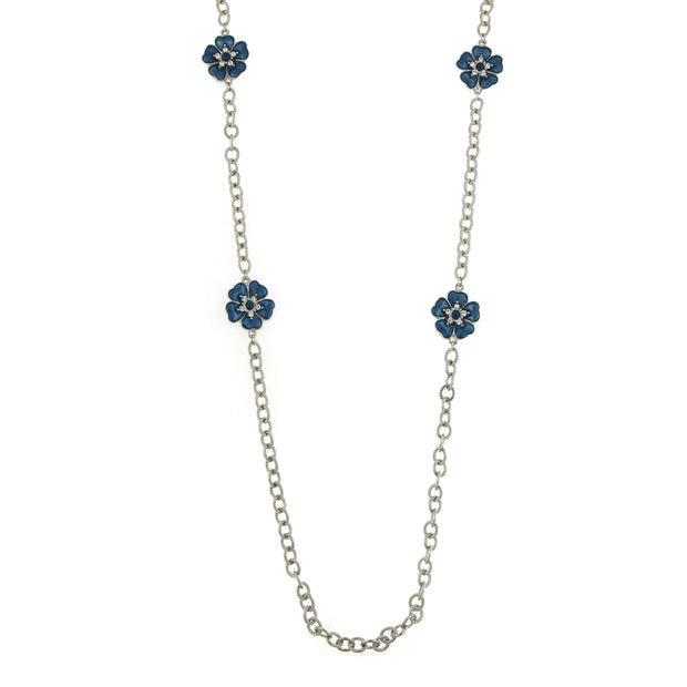 Silver-Tone Blue Enamel Flower Necklace 40 In