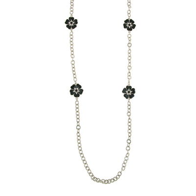 Silver Tone Black Enamel Flower Necklace 40 In
