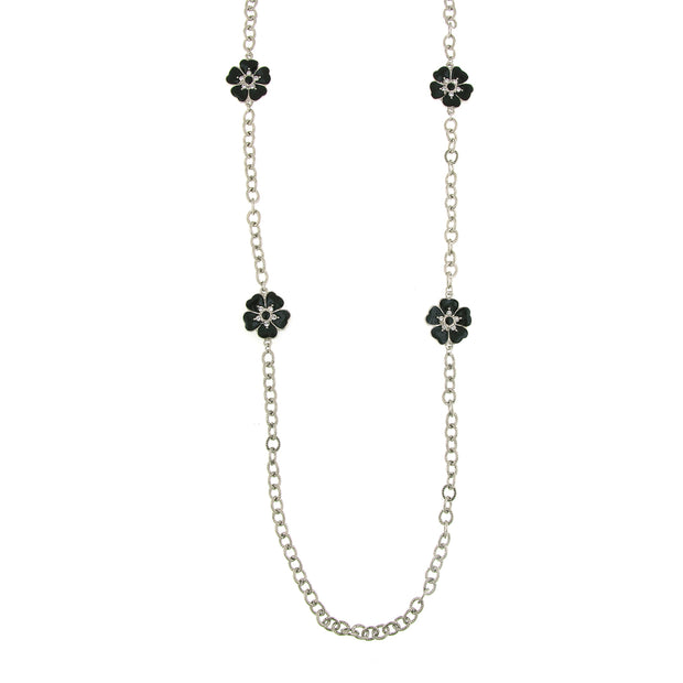 Silver-Tone Black Enamel Flower Necklace 40 In