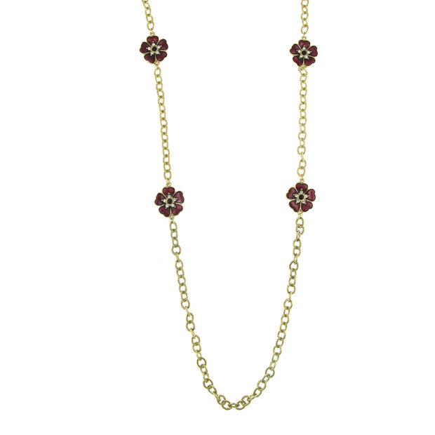 Gold-Tone Amethyst Enamel Flower Necklace 40 In