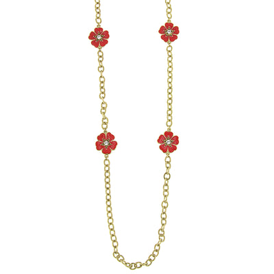 Gold Tone Orange And Coral Enamel Flower Necklace 40 In