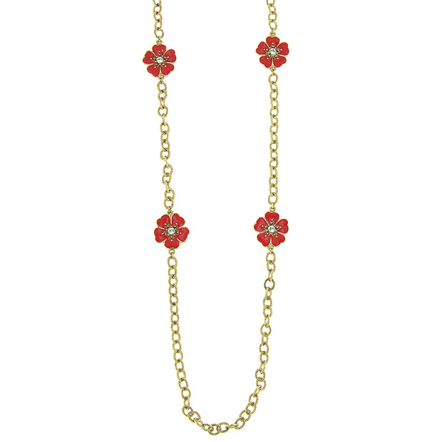 Gold-Tone Orange And Coral Enamel Flower Necklace 40 In