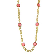 Gold Tone Chain Necklace 36 In Pink