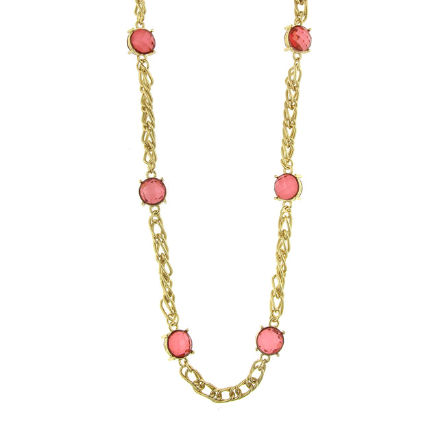 Gold-Tone Chain Necklace 36 In Pink