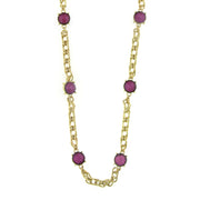 Gold-Tone Amethyst Purple Chain Necklace 36 In