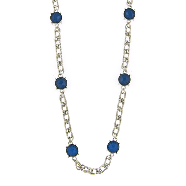 Silver-Tone Blue Chain Necklace 36 In