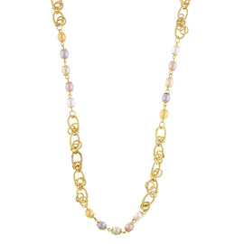 Signature Gold-Tone Multi Color Simulated Pearl Necklace