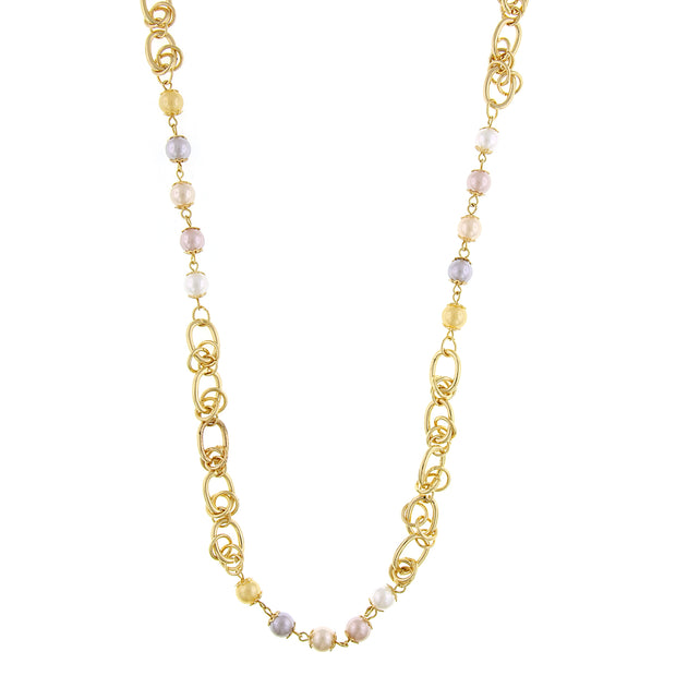 Gold-Tone Multi-Color Costume Pearl Chain Strand Necklace 28 In  Adj