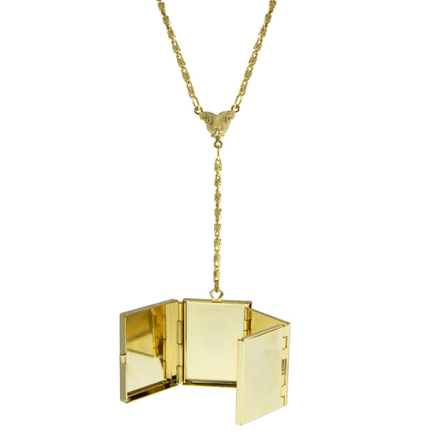 1928 Jewelry Gold-Tone 4-Way Fold Over Box Locket Necklace