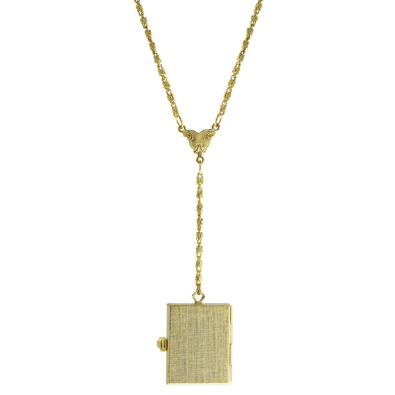 Fashion Jewelry - Gold-Tone 4-Way Fold Over Box Locket Necklace