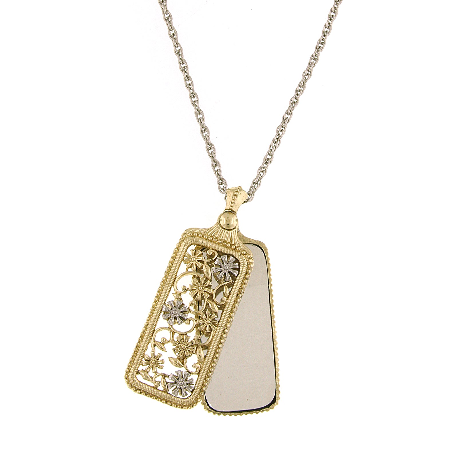 1928 Co Gold and Silver-Tone Flower Filigree Mirror Pendant Necklace 30