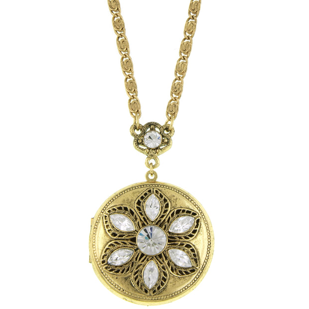 Gold Tone Crystal Round Locket Necklace 30 In