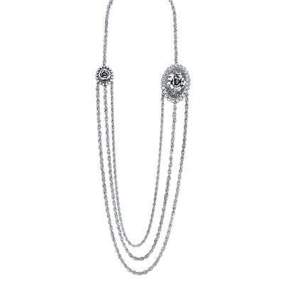 Silver-Tone Crystal Flower Triple Chain Necklace 30 In