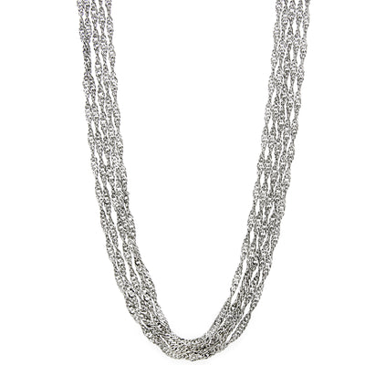 Silver-Tone 5-Strand Long Chain Necklace 30 In