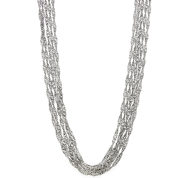 Silver Tone 5 Strand Long Chain Necklace 30 In