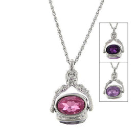 Silver Tone Amethyst 3 Sided Spinner Necklace 30in