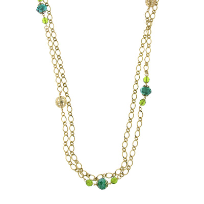 Gold Tone Green Crystal And Filigree Bead Long Necklace 42 In