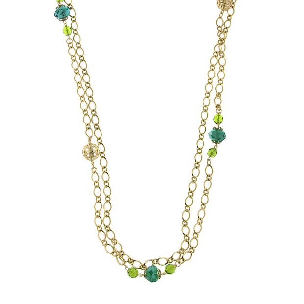 Gold-Tone Green Crystal And Filigree Bead Long Necklace 42 In