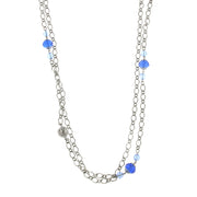 Silver-Tone Blue Long Necklace 42 In